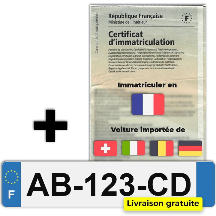 Certificat d'immatriculation pour véhicule étranger et plaques ww
