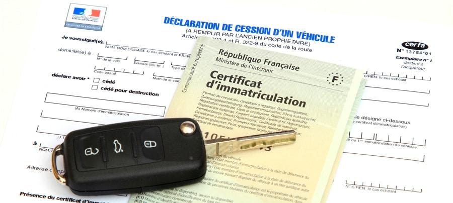 La déclaration de cession d'un véhicule et le certificat d'immatriculation provisoire